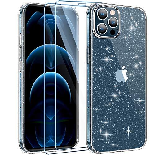 AROYI Cover Compatibile con iPhone 12 e 12 PRO Custodia Glitter Flessibile TPU Silicone Liquid Crystal Custodia Case con 2 Pezzi di Vetro Temperato Incluso