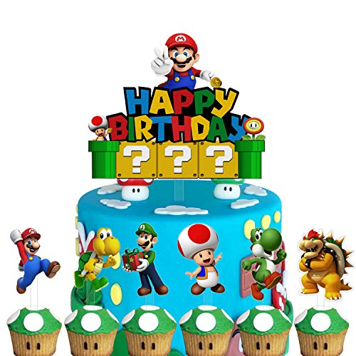 Set of Acrylic Super Mario Happy Birthday Cake Topper, Mario Bros Themed Smash Cake Topper, Mario Family Birthday Party Decoration, Super Mario Party Supplies ( 7PCS )