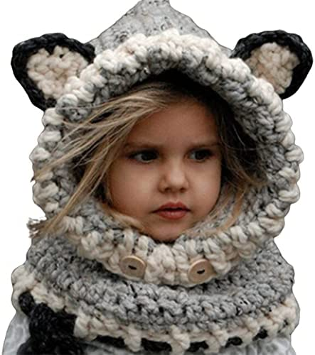 CNmuca Winter Lovely Baby Cold Proof Tridimensional Foxes Keep Warm Scarf Hat Windproof Earmuff Boys and Girls Children Collar Suit Grey