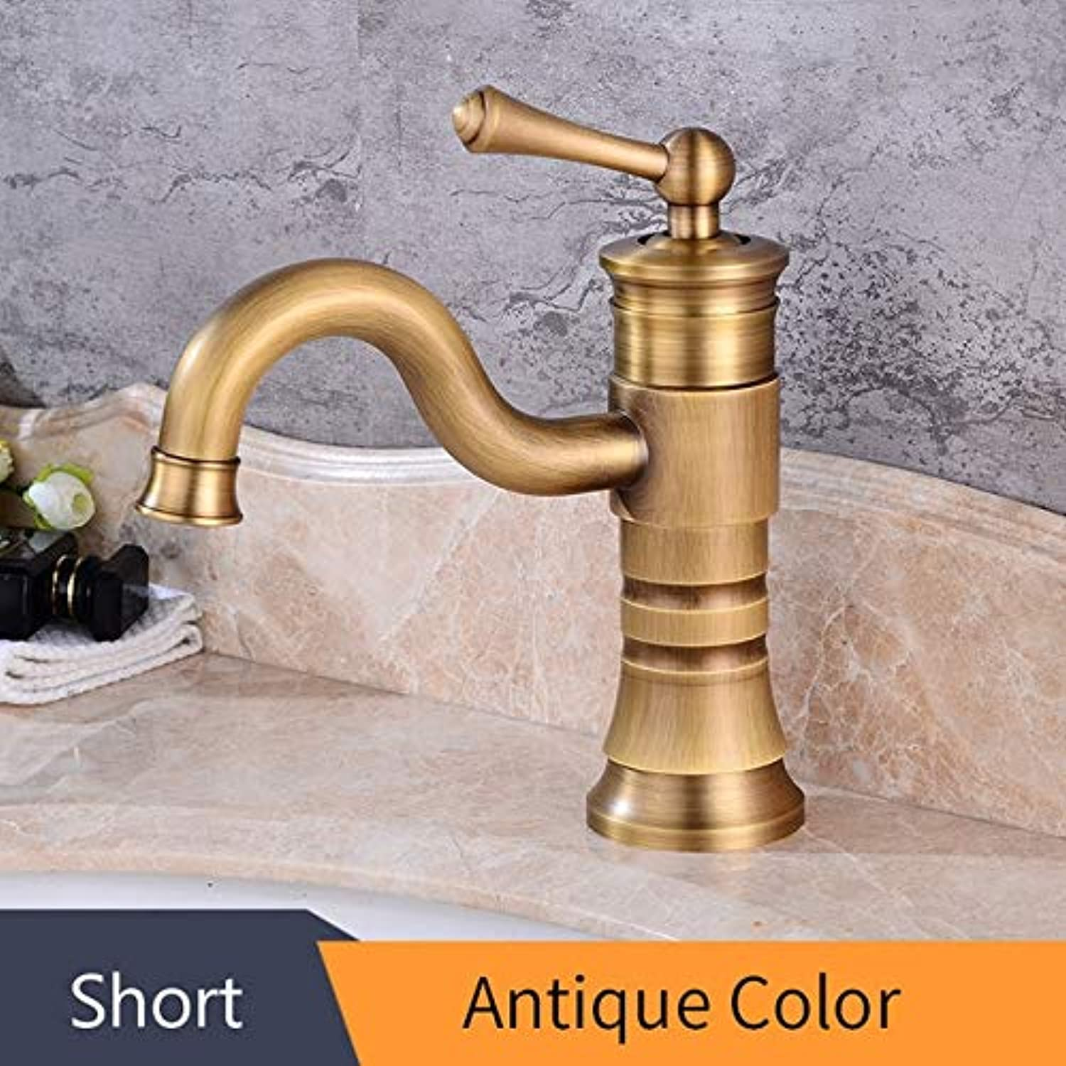 U-Enjoy Chandelier Faucets Antique Basin Brass Bathroom Top Quality with Faucet Single Handle Vintage Mount Torneiras Hot Deck Cold Bath Mixer Water Tap Free Shipping [Short Antique]