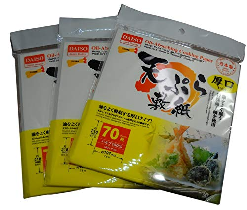3 x Japanese Tempura Paper, Oil-Absorbing Cooking Paper Small Thick 8.6' × 7.8' 70Sheets (Total 210 Sheets)