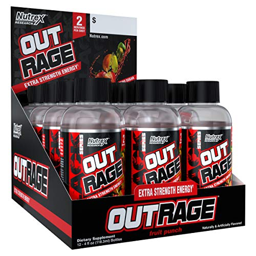 Nutrex Outrage Shots Supplement, Fruit Punch, Pack of 12 Shots