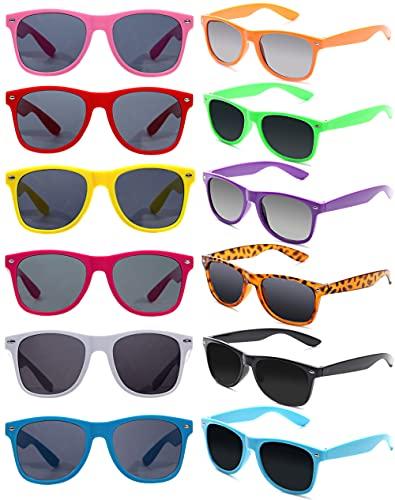 Eyegla 12 Stücke Bunte Neon Party Sonnenbrillen Set Vintage Coole Lustige Party Brillen Für Damen Herren und Kinder