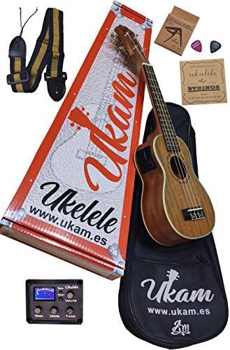 """Ukelele amplificado Soprano 21"""" Caoba UKAM mod.AM-BT100+EQ, con afinador integrado, cejilla especial ukelele, funda acolchada con correa, juego de cuerdas extra y púas. Pack de alta calidad."""