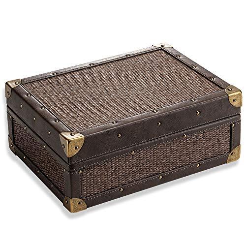 JIANGPENG Caja de Puros portátil de Madera de Cedro, Caja de humidificación de Doble Capa de Gran Capacidad, termómetro y humidificador Integrados.