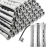 60 Pieces Hair Perm Rods Non-Slip Hair Rollers Plastic Cold Wave Rods Short Curlers Rod with Elastic Rubber Band Perming Rods Curlers Hairdressing Styling Tool (Gray,0.59 Inch)