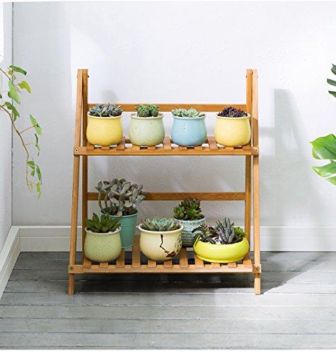 LYQZ 2 Niveaux Flowerpot échelle Pliant Bambou Fleur présentoirs pour Balcon de Salon