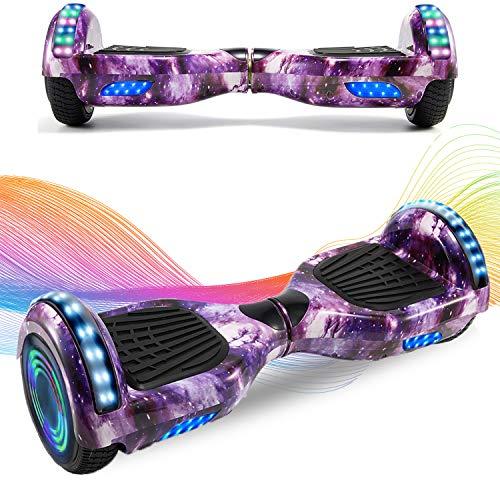 HappyBoard Hoverboard 6.5'' Patinete Eléctrico Bluetooth Monopatín Scooter autobalanceado, Ruedas de Skate con luz LED, Motor Bluetooth de 700W para niños y Adultos