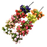 PRETYZOOOM, 10 rose artificiali in seta, bouquet di rose artificiali per composizioni floreali, ideali come regalo per feste di nozze in giardino, decorazione da tavolo (colore misto)