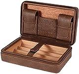 PANGPANGDEDIAN Travel Cigar Cigar Casinera de Cuero 4 Soporte Establecimiento de Caja de cigarros Cedar Madera Portátil Caja de Cigarrillos Caja Decorativa (Color : Brown)