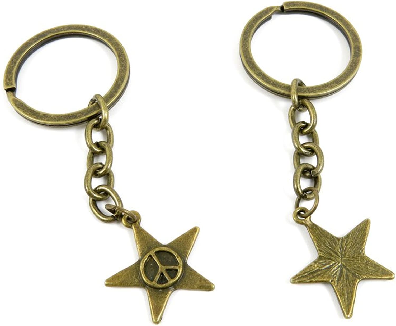 100 PCS Keyrings Keychains Key Ring Chains Tags Jewelry Findings Clasps Buckles Supplies C8WI2 Anti War Signs Stars