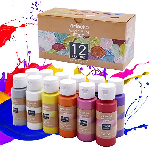 Artecho Acrylic Paint Metallic Acrylic Paint Set for Art, Christmas Decorate, 12 Colors 2 Ounce/59ml Metallic Acrylic Paint Supplies for Wood, Fabric, Crafts, Canvas, Leather&Stone