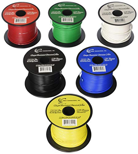 6 Rolls 16 Gauge 100' Feet Single Conductor Stranded Remote Wire 600' Total