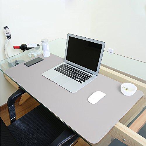 Alfombrilla de escritorio grande, impermeable, de piel sintética, para ratón y otros accesorios, suave, para la oficina y el hogar, rectangular, color gris L