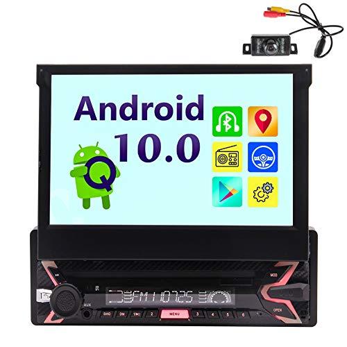 """Android 10.0 Autoradio con navigazione GPS Bluetooth Singolo 1 Din Autoradio 7 """"Touch Screen capacitivo Unità principale AM Ricevitore radio FM Supporto audio-video per auto USB SD 1080P Video Fotocam"""