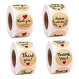 Pegatinas Kraft Etiqueta Adhesiva'Handmade with love' 2.5cm Redondas Etiqueta Autoadhesiva Hechas a Mano Etiquetas Rollo Decoración para Bolsas de Hornear Regalos Caseros 4 Rollo 2000 Piezas
