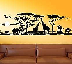 Wandora G012 Afrika Savanne Giraffe olifant Steppe Muursticker Wandsticker zwart (B x H) 150 x 46 cm