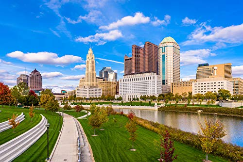 Columbus, Ohio - Downtown Columbus in Fall from Genoa Park - Photography A-92078 (12x18 Art Print, Wall Decor Travel Poster)