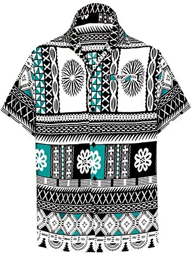LA LEELA botón del Cuello propagación de los Hombres Abajo Bolsillo Delantero Camisa Hawaiana Ocasional Verde_AA104 XS-Pecho Contorno (in cms):91-96