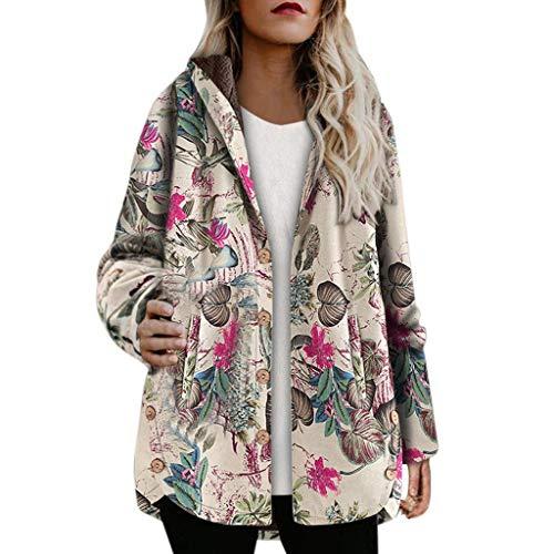 Chaqueta Traje Mujer Abrigo Mujer Invierno para Mujer Chaleco Kimono Chaqueta Blazer Talla Grande Mujer Abrigos con Capucha Estampado Floral Chaqueta Lana Boho Parka Vintage Abrigo BuyO