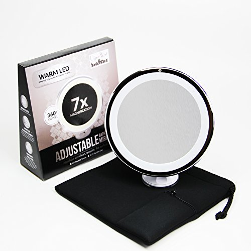 7x Magnifying Lighted Makeup Mirror. Warm LED Tap Bathroom Vanity Mirror. Wireless & Compact Travel...