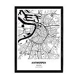 Nacnic Poster mit Karte von Antwerpen - Belgien. Blätter