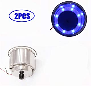 Blue LED Stainless Steel Cup Drink Holder – 2/4 Pieces Insert with Drain & LED Marine Boat Rv Camper