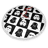 HAIGAFEW Star War Christmas Tree Skirt Decorations Tassel Snowman Xmas Party Holiday New Year Christmas Santa Reindeer Tree Ornaments Fringed Lace Home Decor Party-30 Inch