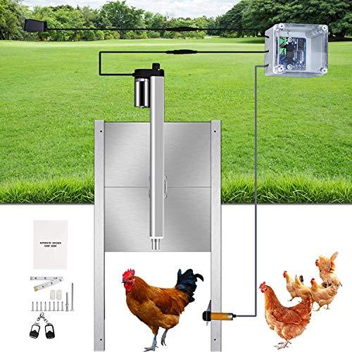4YANG Abridor de puerta automático para gallinero, Abridor de gallinero a prueba de agua con control remoto, Abridor de puerta inteligente para gallinero con temporizador + sensor de luz
