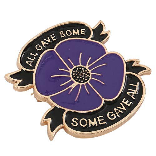 luckystoreme Purple Poppy Brooch Poppy Pin Badges Lapel Banquet Flower Enamel All Gave Some Remembrance Day Gift 2019 (Golden)