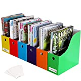 Evelots Magazine File Holder-Organizer-Full 4 Inch Wide-6 Colors-W/Labels-Set/6