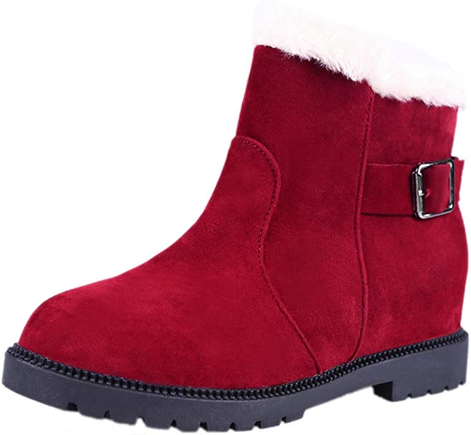 T-JULY Women's Fashion Buckle Ankle Slip-on Wedge Warm Snow Boots Casual Breathable Waterproof Fur Plush Winter shoes