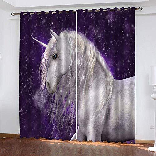 fgjorics 3D Blackout Curtains Star Unicorn Blackout Bedroom Curtains - Thermal Insulating Window Curtains Curtain Set 250(H) X140(W) Cmx2