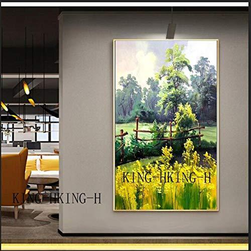 mmzki Habitación para niños Pintura al óleo Impresión al óleo sobre Lienzo de Calidad Pintado a Mano violación bucólica Decorativa hogar y el vestíbulo del hotel-70x110CM_Kingh1