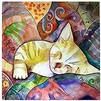数字によるDIYペイント数字キットによる抽象的な子猫アクリル油絵具DIYクラフト絵画キャンバスにアートセット初心者の壁に簡単家の装飾40×50cmフレームレス