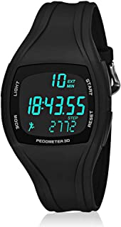 CFGem Adolescent Multi-Functional Sports Digital Watch, Teen's Sports Waterproof Watch with Pedometer/Alarm/Stopwatch Timer, Kid's Outdoor Sports Wristwatch Black