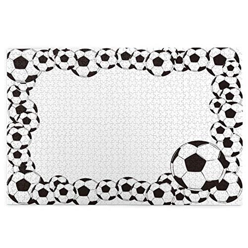 Yoliveya 1000 Stück Puzzle,Soccer Monochrome Football Frame Pattern Abstract Spielen Sportspiel White Charcoal Grey,Bild Puzzle Spiele für Erwachsene und Kinder Familie Hochzeit Abschlussgeschenk