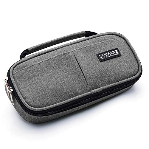 ROYLIVE Pencil Case multi-slot pens cases, Big Larger Capacity Pencil Bag Holder Pen Pouch Student Stationery Makeup Organizer, Dual Zipper | Handy College Middle School & Office Supplies - Grey