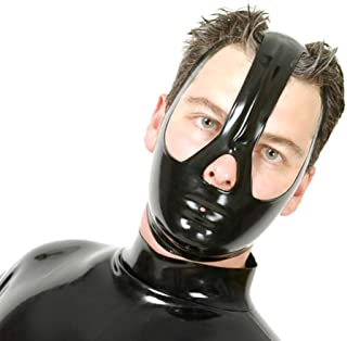 EXLATEX Latex Mask Unisex Rubber Hood with Covering Half of Face with Open Eyes and Nose