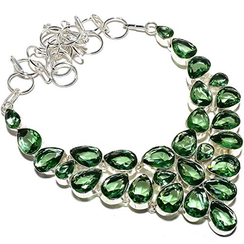 "emartwala Tsavorite Quartz Gemstone Handmade 925 Sterling Silver Necklace 18"" RT-290"