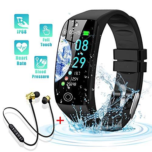 Montre Connectée et Écouteur Bluetooth, Femmes Homme Enfant IP68 Etanche Bracelet Connecté Écran Coloré Smartwatch avec Cardio Podometre Sommeil Réveil Notifications pour iPhone Huawei Xiaomi (Noir)