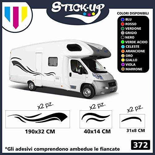Stick-up Kit 6 Pezzi Decacolmania Adesivi Camper - Fantasia Strisce - Adesivi Camper Kit Completo in Vinile Adesivo, Strisce adesive Grafica per roulotte e Camper (Altri Colori (CONTATTACI))