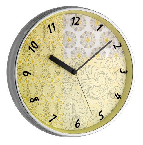 TFA Dostmann 98.1099 Analogen Design-Wanduhr mit Metallrahmen, leises Uhrwerk, florales Design