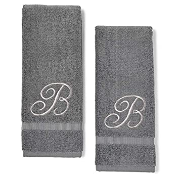 Monogrammed Hand Towels Letter B Embroidered Gift  16 x 30 in Grey Set of 2