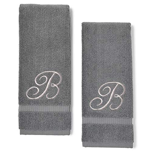 Monogrammed Hand Towels, Letter B Embroidered Gift (16 x 30 in, Grey, Set of 2) Nevada