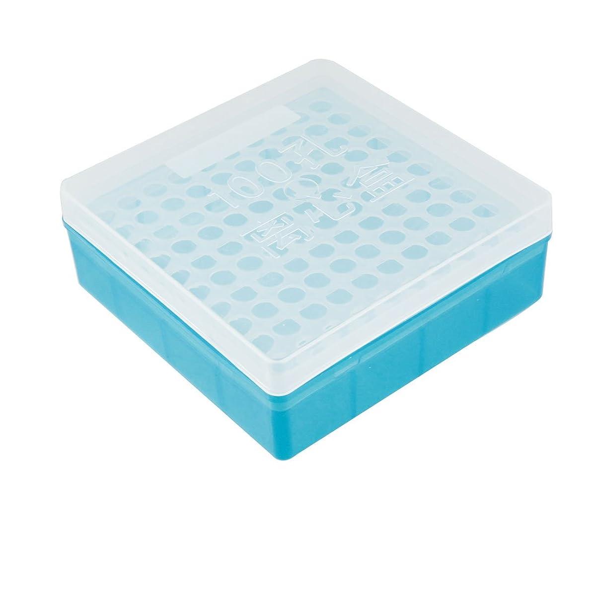 醸造所巨大ビジュアルuxcell 遠心分離機 チューブ スタンド ボックス 実験室 クリアブルー プラスチック 100個ポジション