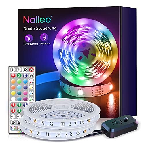 Tira LED 20M, Nallee Luces LED Habitacion con IR Control Remoto,RGB 5050 Luces LED Sincronización de Música, Tira de LED Para Decoración de Habitación, Fiestas, Cocina, Techo