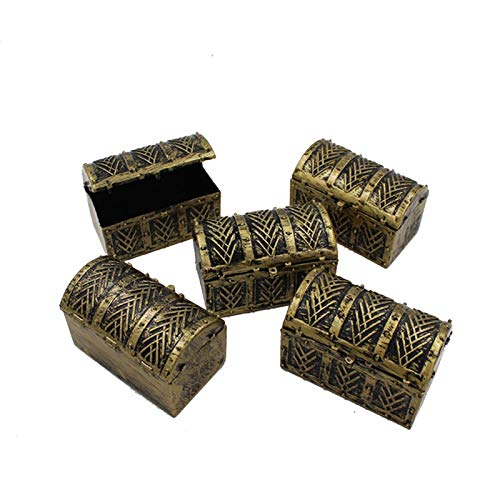 MOVKZACV Mini cofres del tesoro de piratas, caja de juguete antiguo pirata, caja de joyería de pirata, dinero tesoro, cofre del tesoro, cofre del tesoro para fiestas piratas, Halloween