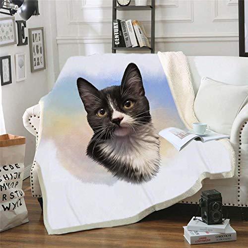 MOUPSDT Impresión 3D Manta de Sherpa Gato Animal Negro Blanco Reversible para niños niños Adultos Manta sólida de Dibujos Animados de Felpa Impresa para Cama sofá 130x150 cm