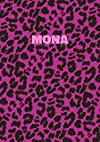 Mona: Personalized Pink Leopard Print Notebook (Animal Skin Pattern). College Ruled (Lined) Journal for Notes, Diary, Journaling. Wild Cat Theme Design with Cheetah Fur Graphic